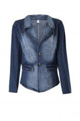 Fashionable Turn-Down Collar Long Sleeve Denim Buttoned Women's Jacket