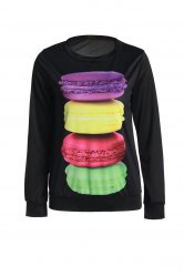 Endearing Round Collar Colorful Macaron Printed Pullover Sweatshirt For Women