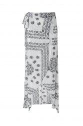 Geometric Printed Handkerchief Slit Maxi Skirt - WHITE