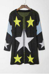 Fashionable Round Collar Star Pattern Long Sleeve Cardigan For Women - BLACK ONE SIZE(FIT SIZE XS TO M)