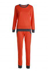 Casual Col rond Activewear de manches longues Color Block de poche design Femmes Suit - Tangerine