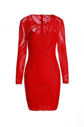 Sexy Scoop Neck Long Sleeve Solid Color See-Through Slimming Women's Dress - RED