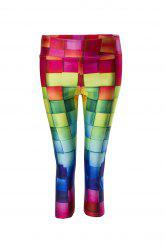Stylish Colorful Print Stretchy Skinny Women's Capri Pants -