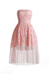 Strapless Midi Lace Mesh Panel Prom Dress - PINK