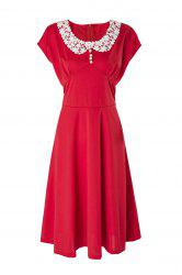 Vintage Peter Pan Collar Cap Sleeve Lace Crochet Women's Dress - RED