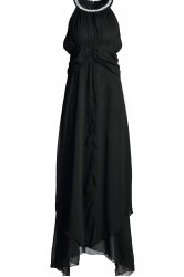 Maxi Chiffon Empire Waist Flowy Cocktail Dress - Noir