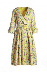 Vintage Shawl Collar 3/4 Sleeve Full Tiny Floral Print With Belt Women's Dress