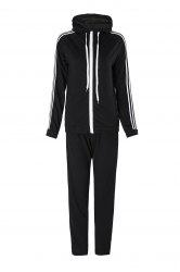 Active Hooded Long Sleeve Striped Jacket + Waist Drawstring Pants Women's Activewear Suit - BLACK