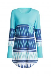 Stylish Scoop Neck Zig Zag Print Long Sleeve T-Shirt For Women
