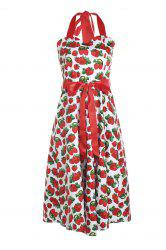 Retro Style Halter Strawberry Print Sleeveless Dress For Women