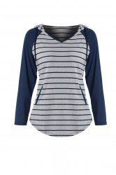 Chic Hooded Long Sleeve Striped Pocket Design Women's Hoodie