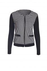 Elegant Scoop Neck Color Block Houndstooth Printed Coat For Women - WHITE AND BLACK