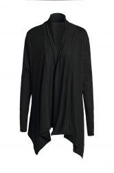 Chic Turn-Down Neck Long Sleeve Pure Color Women's Cardigan - BLACK