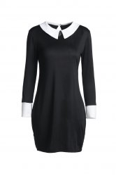 Fashion Flat Collar 3/4 Sleeve Hit Color Women's Dress - BLACK