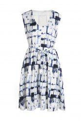 Sexy V-Neck Sleeveless Printed Self-Tie Dress For Women