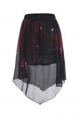 Stylish Elastic Waist Galaxy Printed Asymmetrical Chiffon Skirt - RED WITH BLACK