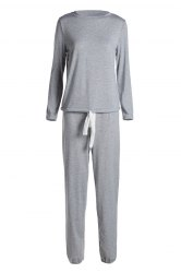 Casual Scoop Neck Long Sleeve Top and Drawstring Pants Suit For Women - GRAY