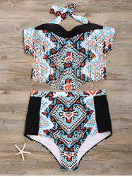 Charming High-Waisted Geometric Print Fringed Women's Bikini Set