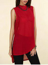 Sheer High-Low Slit Sleeveless Chiffon Blouse -