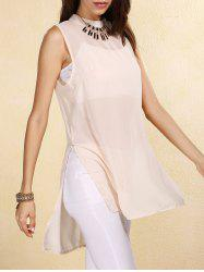 Sheer High-Low Slit Sleeveless Chiffon Blouse