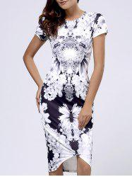 Bodycon Short Sleeve Floral Print Bandage Dress