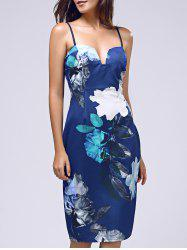 Vintage Spaghettti Strap Floral Print Women's Dress - BLUE L