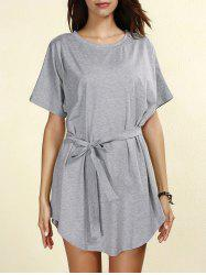 Casual Short Sleeve Round Neck Self-Tie Women's Dress