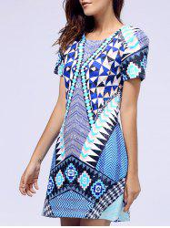 Short Sleeve Round Neck Geometric Print Dress