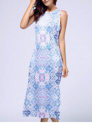 Sweet Sleeveless Round Neck Printed Women's Midi Dress