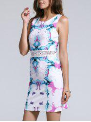 Sweet Sleeveless Hollow Out Waist Floral Print Women's Dress - WHITE L