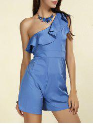 Stylish Skew Neck Flounced Solid Color Women's Romper
