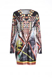 Vintage Geometric Printed Long Sleeve Bodycon Dress For Women