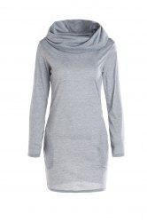 Long Sleeve Hoodie Sweatshirt Dress - GRAY