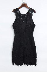 Mini Lace Crochet Backless Club Dress - BLACK
