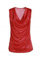 Stylish Cowl Neck Sleeveless Solid Color Draped Tank Top For Women