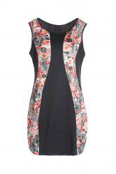 Charming Red Floral Printed Sleeveless Bodycon Mini Dress For Women
