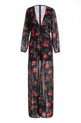 Charming Plunging Neck Floral Printed High Low Romper For Women - RED WITH BLACK