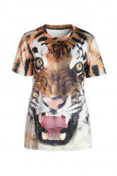 Stylish Round Neck Short Sleeve Tiger Print T-Shirt For Women - COLORMIX XL