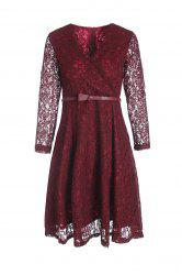 Alluring V-Neck 3/4 Sleeve Slimming Lace Dress For Women -