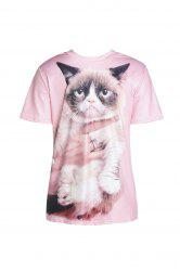 Cute Round Collar Short Sleeve Cat Print T-Shirt For Women -