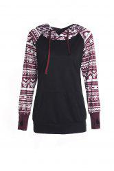 Chic Long Sleeve Geometrical Hooded Color Block Hoodie For Women - BLACK