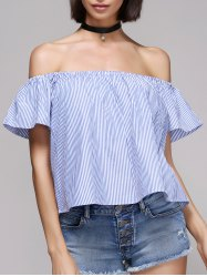 Chic Women's Pinstriped Off The Shoulder Blouse -