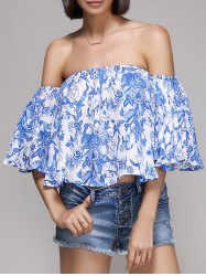 Chic Women's Off The Shoulder Ruffle Print Blouse -