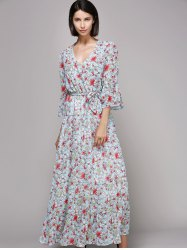 Bell Sleeve Maxi Floral Beach Swing Dress -