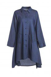 High-Low Hem Denim Shirt Dress