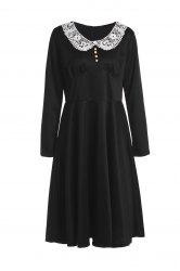 Noble Peter Pan Collar Long Sleeve Lace Spliced Women's Dress -