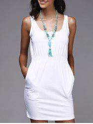 Scoop Neck Tank Casual Cream Dress - WHITE
