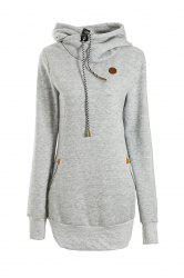 Chic Solid Color Long Sleeve Hooded Hoodie For Women - LIGHT GRAY