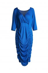 Trendy Solid Color V-Neck 3/4 Sleeve Bodycon Ruched Midi Dress For Women -