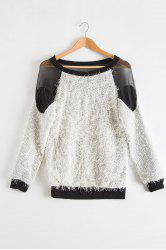 Sexy Round Neck Long Sleeve See-Through Voile Spliced Women's Sweater - WHITE AND BLACK
